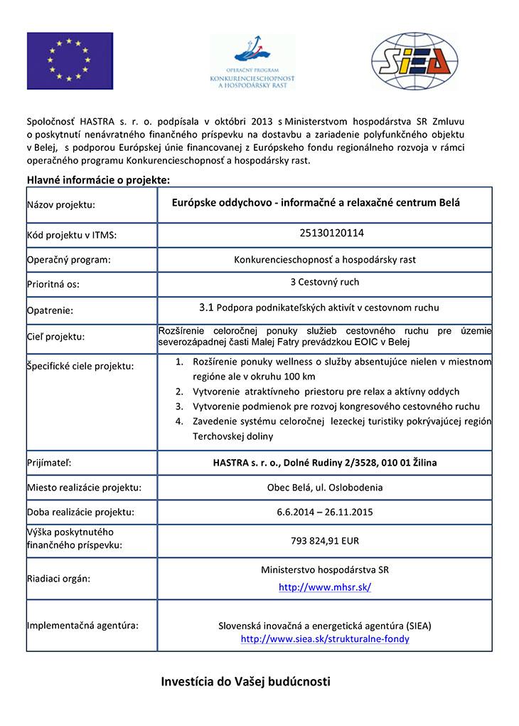 EOIC Belá - Realizácia projektu - informácie o projekte